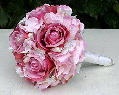 FRI-Collection Meisterfloristik Brautstrauß Biedermeier Seidenblumen Rosa Rosen weiße Hortensien...