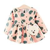 Amlaiworld Baby Mädchen Niedlich Herz Druck Kleider + Bären Tasche Kinder Langarm Mode Kleidung,0-24Monate (18 Monate, Rosa)