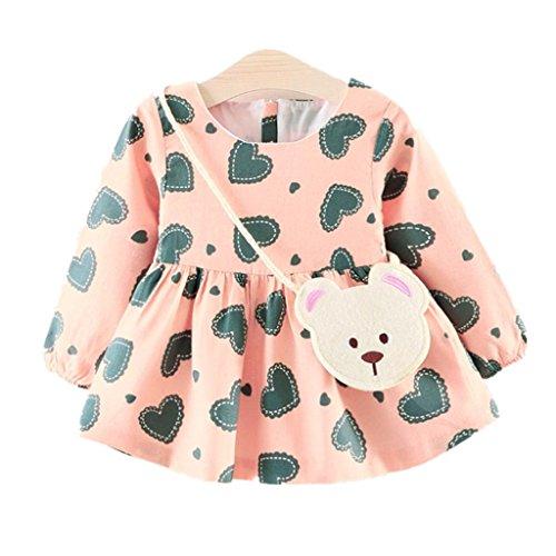 chen Niedlich Herz Druck kleider + Bären Tasche kinder langarm mode kleidung,0-24Monate (12 Monate, Rosa) (6 Monats Kostüme)