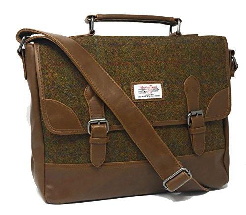 Damen oder Herren Echte Harris Tweed Satchel Aktentasche in der Farbe (Bräunen)