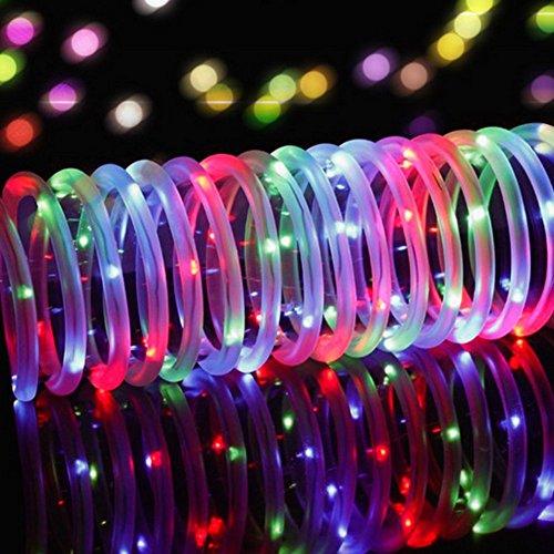 LED Guirlande lumineuse,KINGCOO Etanche 39ft 12M 100 LED conduit à énergie solaire tuyau souple Tube Rope Fil de cuivre de Noël étoilées de lumières pour le mariage Outdoor Garden Party (Multi-Couleurs)