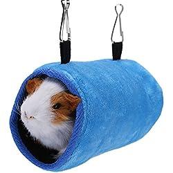Fdit Hamaca Colgante para Mascota Hamaca de Algodón Suave Humaca Calentador de Invierno para Loro Pajaro Hámster (Azul S)