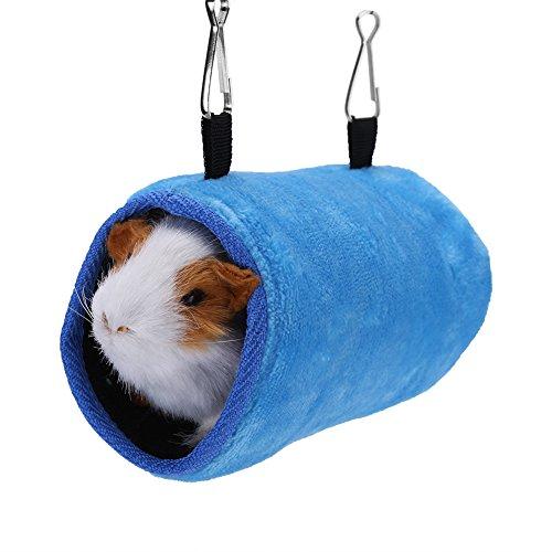 Fdit Amaca Calda per Animali Domestici Ratti Criceto Appeso Gabbia Letto Parrot Scoiattolo Caldo Tunnel Hammock Houseper(Blu S)