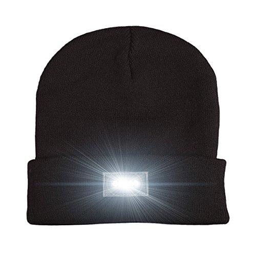 5 LED gestrickter Beanie-Hut, Hände frei LED Beanie Cap, Scheinwerfer-Hut, Taschenlampe Kappe, für Jagd, Camping, Grillen, Autowerkstatt, Jogging, Laufen, Laufen, Radfahren oder Heimwerkerarbeiten (Black) (Herbst-scheinwerfer)