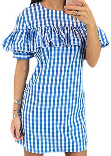 erdbeerloft - Damen Kurzes Kariertes Kleid mit Volant, 34-42, Viele Farben Blau