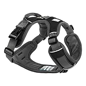 Embark Active Dog Harness, Easy On and Off with Front and Back Lead Attachments & Control Handle - No Pull Training, Size Adjustable and No Choke (XL (96-112 cm, Black)
