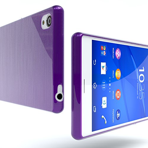 "Sony Xperia Z3 Hülle - EAZY CASE Slimcover ""Clear"" Handyhülle - Schutzhülle als Smartphone Case in Schwarz / Anthrazit Brushed Lila"