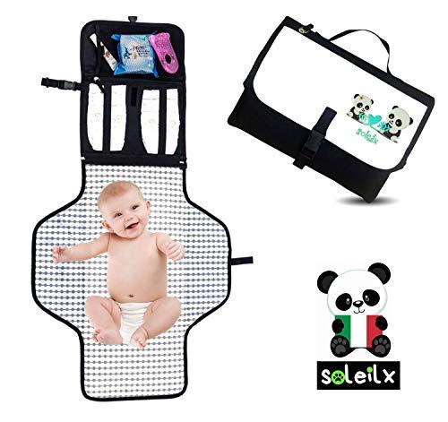 Matelas à langer portable pliable rembourré [Panda Design 2019] idée cadeau sac bébé Organiseur de voyage avec matelas idéal pour le change couche partout et dans toute confort