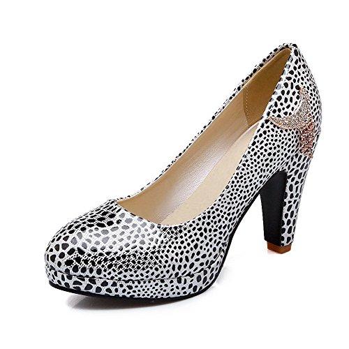 AgooLar Femme à Talon Haut Couleurs Mélangées Tire Matière Souple Rond Chaussures Légeres Blanc