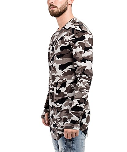 Phoenix Oversize Round Longsleeve T-Shirt Herren Langarm Longshirt Abgerundet Camouflage Midnight