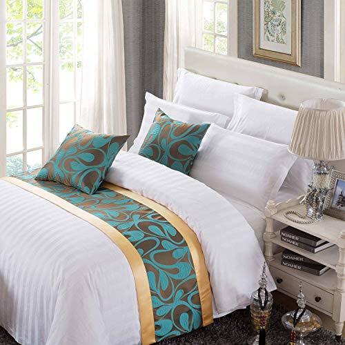 Osvino copriletto elegante letto poliestere lussuoso morbido verde dorato corridori motivo floreale jacquard per alberghi letti camere, floreale verde 210x50cm pour 150cm lit