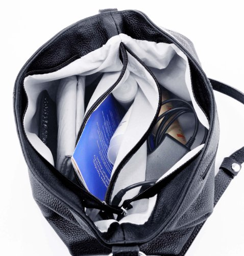 OBC Made in Italy Echt Pelle Borsetta Da Donna Shopper Borsa A Tracolla borsa Borsa con manici IPad mini Tablet fino 10 Pollici 28x24x14 cm (BxHxT) - Bordo, Donna, 28x24x14 cm (BxHxT) Blu scuro/Blu marino