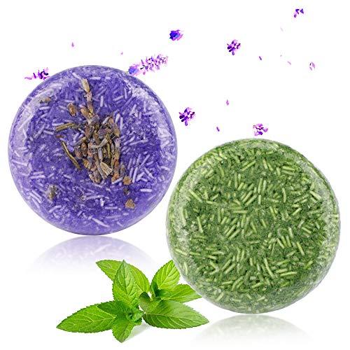 Trockenes Haar Mint Shampoo (2 Stücke Shampoo Bar, Phogary Haar Seife (Lavendel + Minze) verschiedene Duft-Pflanzenessenz-Shampoo für trockenes u. Geschädigtes Haar - Hilfen stoppen Haar-Verlust und fördern gesundes Haar)