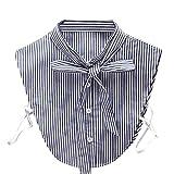 Kanpola Damen Kragen Bluse Top Elegant Abnehmbare Blusenkragen Shirtkragen Topkragen Weiß/Grau (Blau Z1)