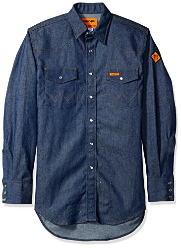 Wrangler Men's Flame Resistant Western Two Pocket Snap Shirt, Denim, L (Denim Western Wrangler Shirt)