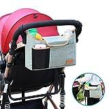 Kinderwagen Organizer, AEMIAO Universale Kinderwagentasche Buggy Pram Organizer Hänge Tasche mit1 Schulterriemen, 2 Getränkehalter & Handy Halter, Unverzichtbares Kinderwagen-Zubehör