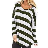 ESAILQ Damen Collection Damen Tagless T-Shirt Basic mit V-Ausschnitt(XL,Grün)