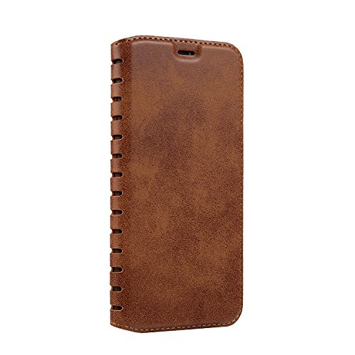 Coque Etui pour iPhone 8, Bonice Coque en Cuir Flip Etui Housse Folio Bookstyle Housse Portefeuille Echelle Style Coque Housse Leather Case Wallet Shell de Protection Flip Cover Protector Coquille Cou Échelle - Brun