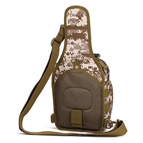 Imagen de hombre mujer bolsa táctico militar bolsa de pecho bolso al hombro de moda bolsa de aire libre para ocio deporte senderismo bolsa , desierto digi alternativa