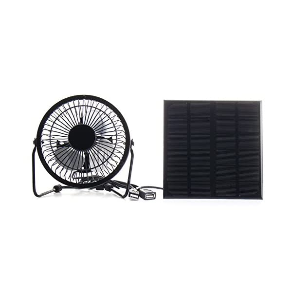 SODIAL High Quality 4 Inch Cooling Ventilation Fan USB Solar Powered Panel Iron Fan For Home Office Outdoor Traveling Fishing 3