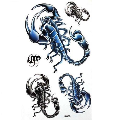 Scorpione nero e blu stickers tatuaggio temporaneo raffreddamento