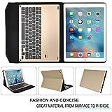 IVSO Apple iPad Pro 9.7-Inch Aluminum Bluetooth Keyboard Portfolio Case - ALUMINUM Bluetooth Keyboard Stand Case / Cover for Apple iPad Pro 9.7-Inch Tablet (Alu - Gold )