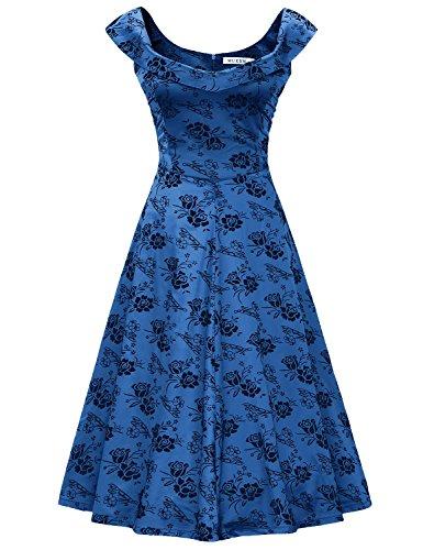 MUXXN Rétro robe balancée de soirée cocktail imprimé de femme des années 1950 au col de bateau blue