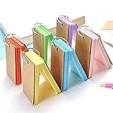 Kesote Mini Karteikarten Set, 6 Stück Pocket Lernkarten mit Ring für Unterwegs, Bunt