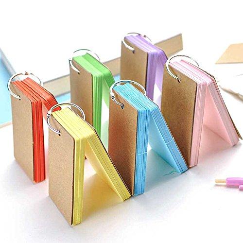 Kesote Karteikarten mit Ring Set, 6 Stück Pocket Lernkarten Flash Card für Unterwegs Vokabel Lernen, Bunt - Sechs Ringe