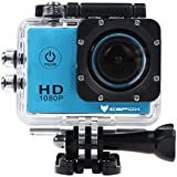 icefox FHD Underwater Action Camera, 12MP 1080P Waterproof HD Camera with 170° Wide Angle ,1.5 Inch Display, 900mAh Battery and Accessories Kit for Diving, Bicycle, Motorbike, Swimming (Blue)