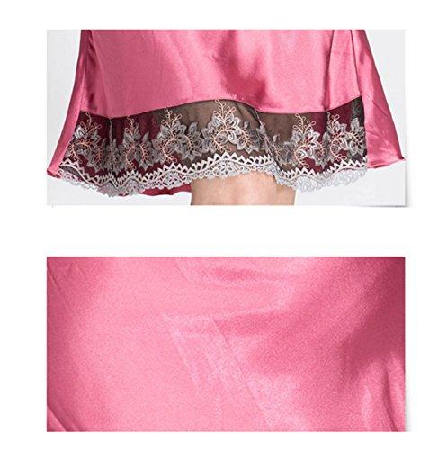 Mme Bretelles Soie Sexy Pyjamas V-cou Chemises De Nuit pink