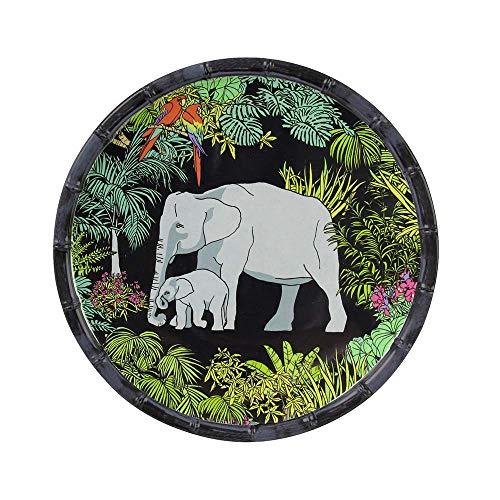 Les Jardins de la Comtesse - Petite Assiette à Dessert Plate en Mélamine Pure - Contour Bambou - Jungle - Ø 23 cm - Noir/Vert - Service de Table - Collection de Vaisselle Incassable MelARTmine