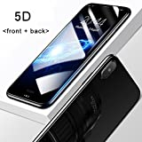 Market Affairs 5D Round Curved Edge Tempered Glass Front+Back Screen Protector for IPhone X (Ten) (Black)