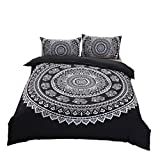 Stillshine Boho National Wind Betten Set, Modernes Elegantes 3 Stück Bohemian Exotic Style Lightweight Microfiber Bettwäsche-Set Bettwäsche Set (200X200CM, Schwarz)