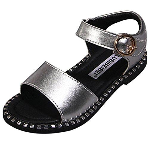 Oasap Girl's Fashion Peep Toe Buckle Flat Sandals silver