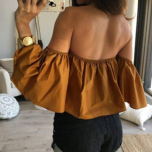 Internet Damen Sommer ab Schulter Top lässige Bluse Gelb