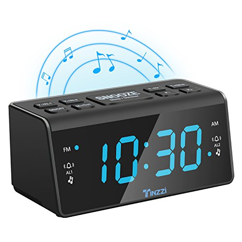 "[Neue Version] Radiowecker,Tinzzi Digitales FM/AM Uhren-Radio Mit Nachtlicht-Funktion,Digitales LED Wecker mit 4.3 ""/ 110mm LED-Display / Dual-Alarm mit Snooze / Dimmer, Batterie-Backup /Anpassbare"