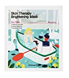 [ANSWER NINETEEN+] Skin Therapy Brightening Mask – Make Dull Skin Bright and Clear, Contains Flower Complex 2,000PPM, EU Eco-label 100% Cellulose Tencel Sheet, 25g / 0.88 fl. Oz, Pack of 5