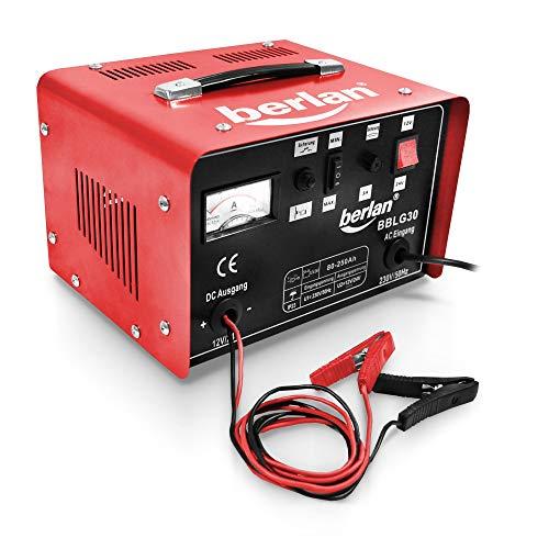 Berlan Caricabatterie BBLG30 per auto e veicoli con tensione di carica commutabile 12/24 V - amperometro e cavo di carica con pinze isolate inclus