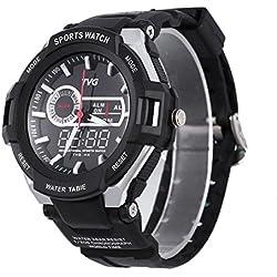 Leopard Shop TVG 801 Men Dual Movt Quartz Digital Watch Water Resistance Chronograph Luminous LED Display Wristwatch Black