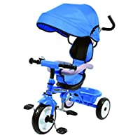 Kids Easy Steer Pedal Tricycle Buggy Stroller with Oxford Cloth (RICCO XG18859 Blue)