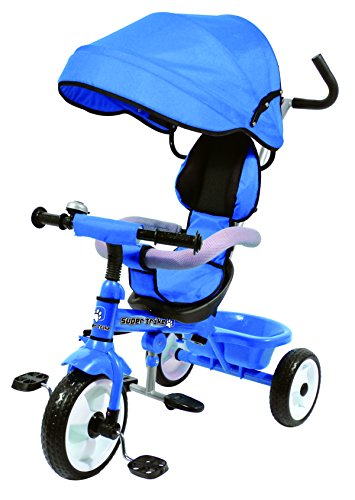 Kids Easy Steer Pedal Tricycle Buggy Stroller with Oxford Cloth (RICCO XG18859 Blue) 51h 2BuVCPzHL