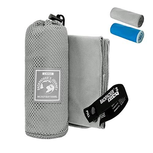 Backpacker's Journey Mikrofaser Handtücher in S M L XL. Reisehandtuch Sets leicht, schnelltrocknend, saugfähig und antibakteriell (grau XL&L&M)