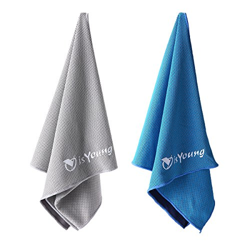 isyoung 2Stück Handtuch Kühlung Snapshot 110cm * 30cm Paar Handtuch Sport für Gym  Yoga  Rennen  Camping–Blau und Grau (Wirkung Rennen)