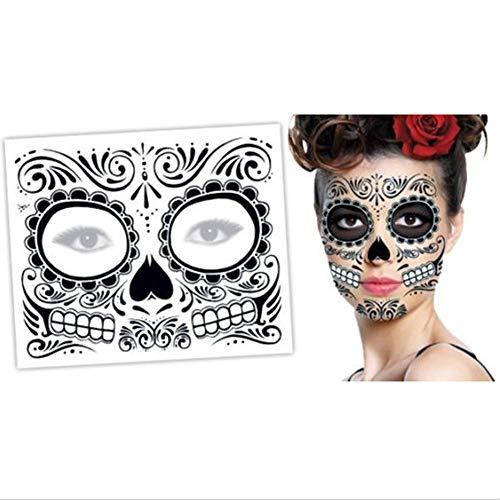 Prevently Halloween Masken, 2 STÜCKE Halloween Masken Festival Party Cosplay Halloween Gesicht des Todes Tag der Toten Dia de los Muertos Gesichtsmaske Zuckerschädel Tattoo Schönheit (Colour B)