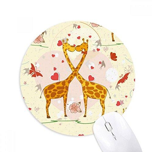 DIYthinker Gelb Kissing Giraffen Valentinstag Runde Griffige Gummi Mousepad Spiel Büro Mauspad Geschenk