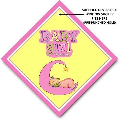 Preisvergleich Produktbild Baby Girl On Board Rosa Mond KFZ-Hinweisschild, Baby an Bord Hinweisschild
