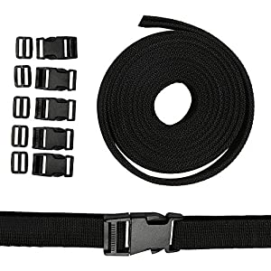 5 Paar Gurtband mit Schnallen Klippverschluss Nylon 25mm Double Side Release Schnallen Clips aus Polypropylen strapazierfähiges Gurtband für Armbänder Hundehalsband Gurtband Rucksack Zelt Schwarz