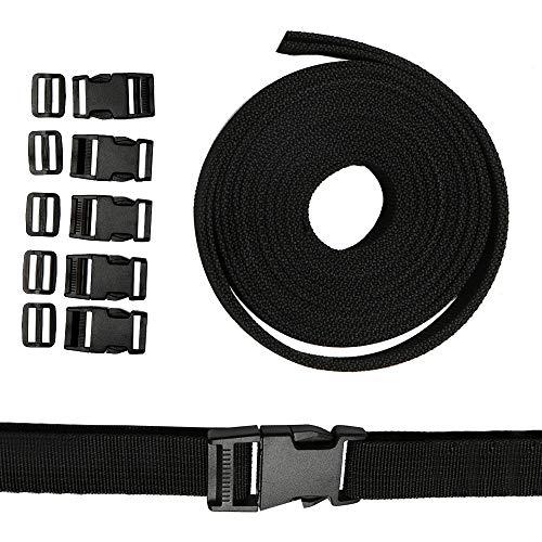 5 Paar Gurtband mit Schnallen Klippverschluss Nylon 25mm Double Side Release Schnallen Clips aus Polypropylen strapazierfähiges Gurtband für Armbänder Hundehalsband Gurtband Rucksack Zelt Schwarz -