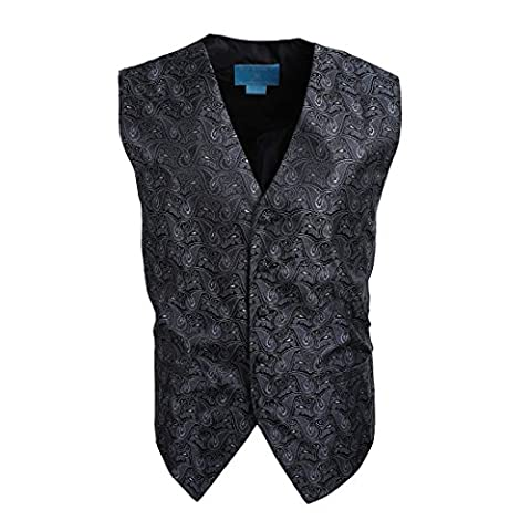 EGC1B08B-L Dim Grey Black Patterned Series For Groomsmen Waistcoat Woven Microfiber Holy Saturday Vest Large Vest By